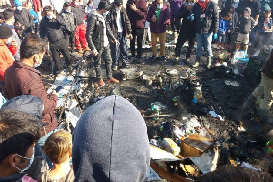 Κάηκε σκηνή στο ΚΥΤ του Καρά Τεπέ