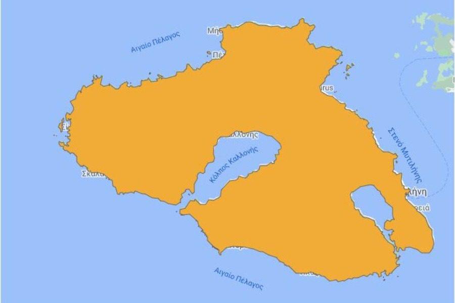 Στο πορτοκαλί‑επίπεδο 3 η Λέσβος