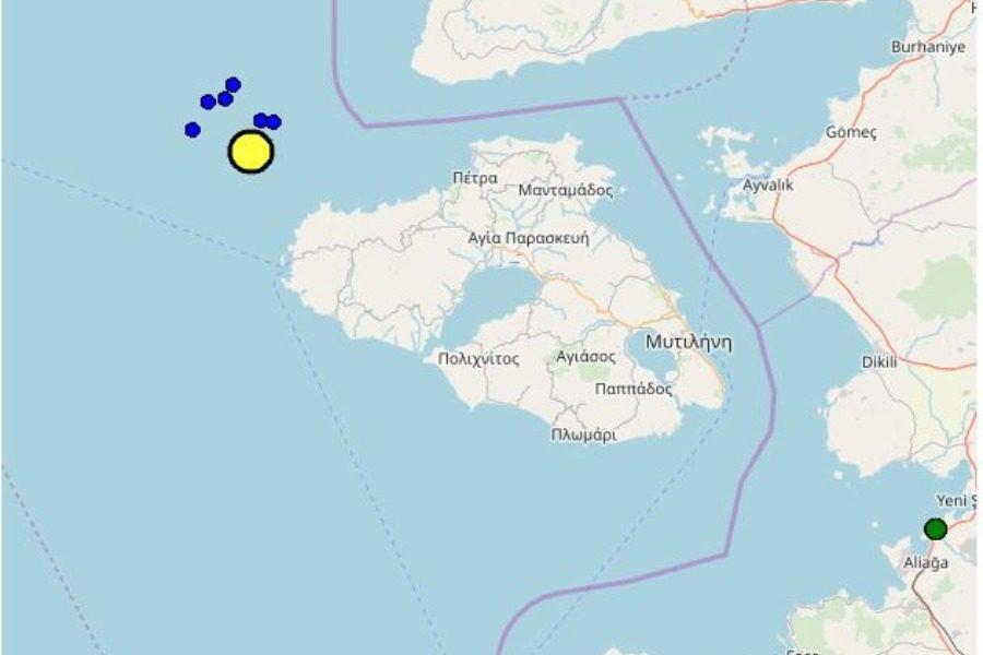Σεισμός 4,2 Ρίχτερ δυτικά ‑ βορειοδυτικά της Μυτιλήνης